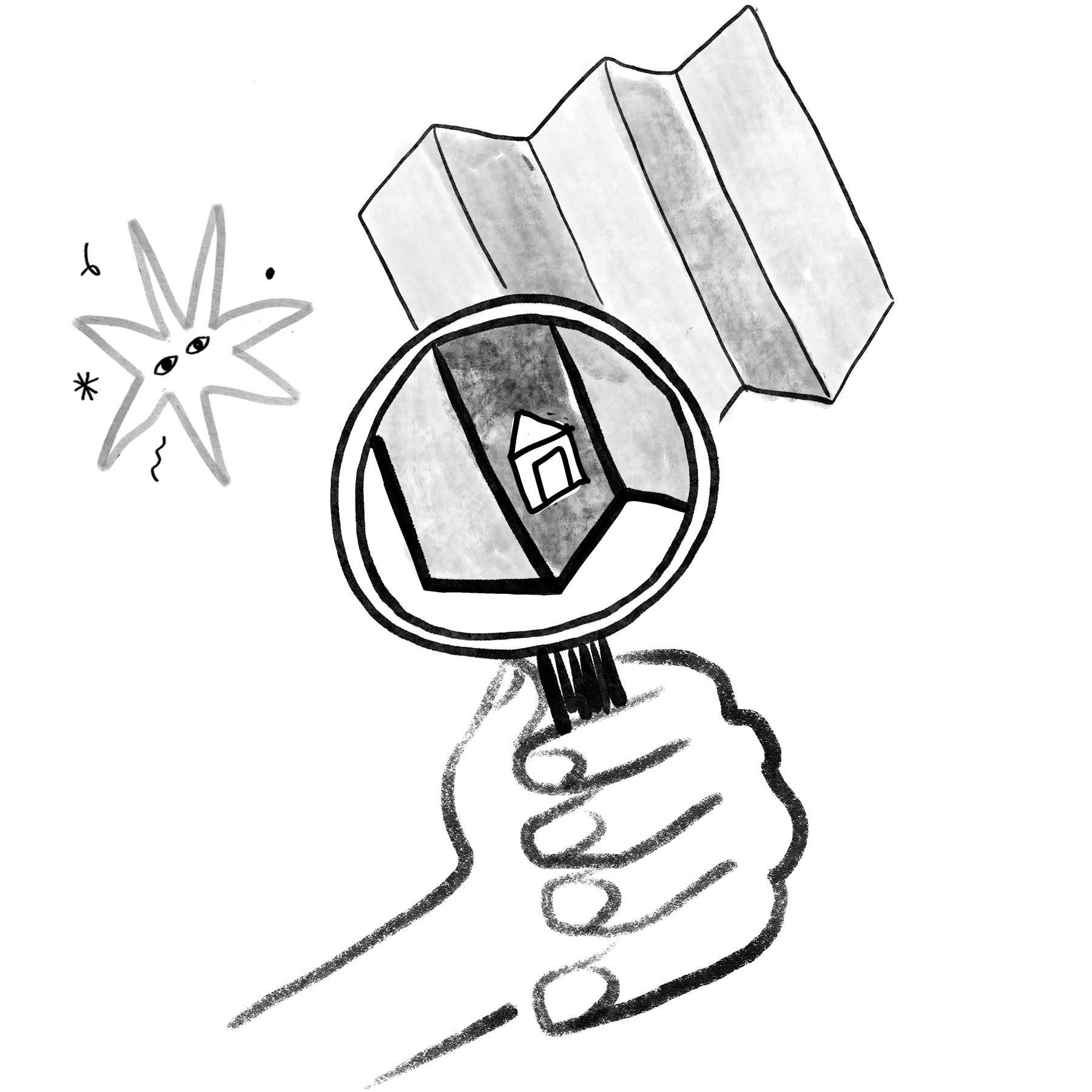 Illustration of a hand holding a magnifying glass over a map