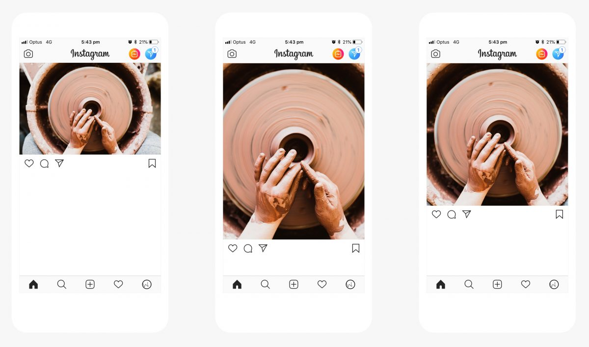 How a landscape, square and portrait images looks in Instagram