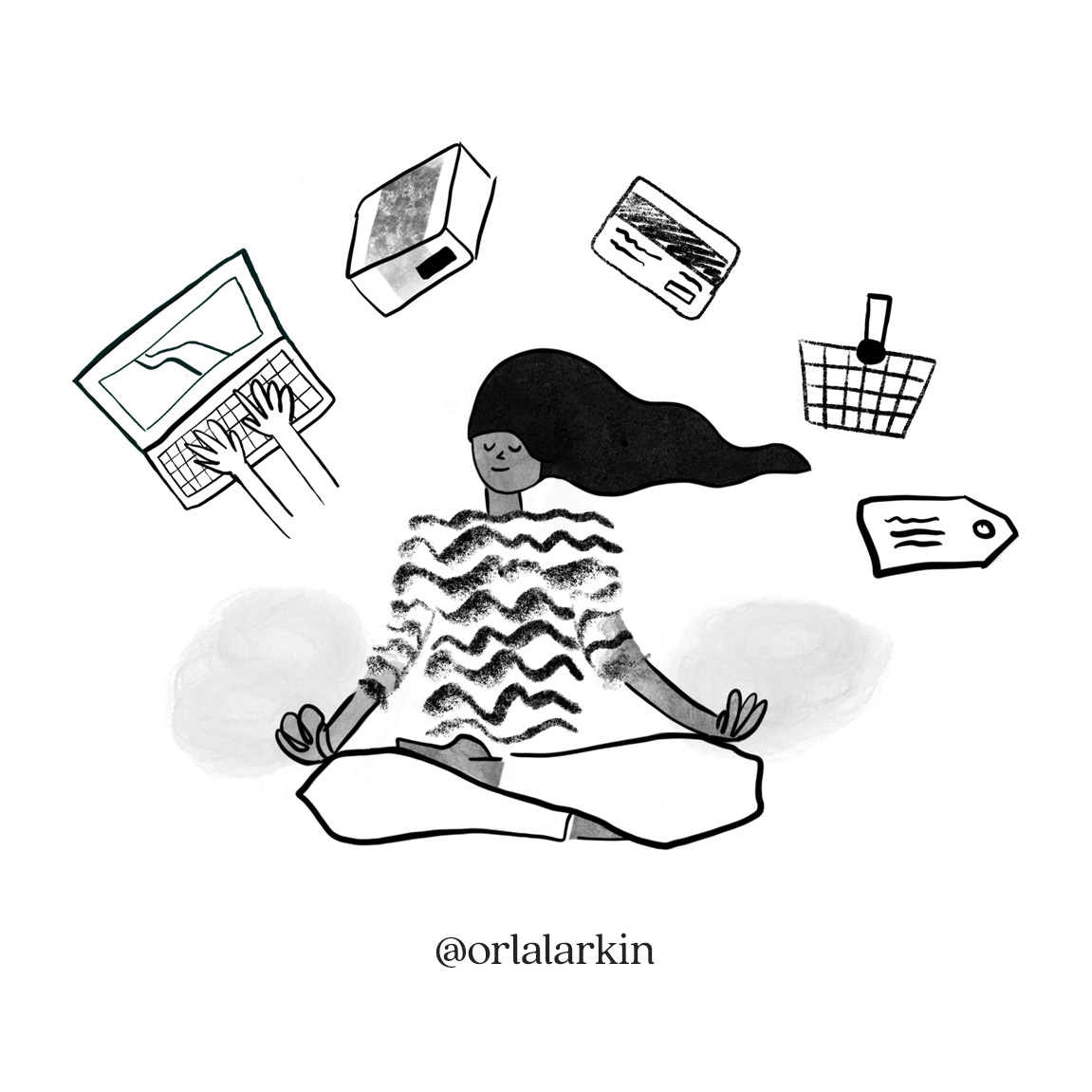 Illustration fo woman meditating