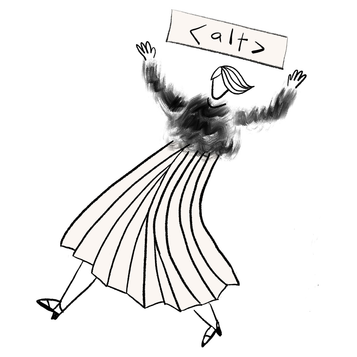 Illustration of a woman holing a sign with <alt> on it