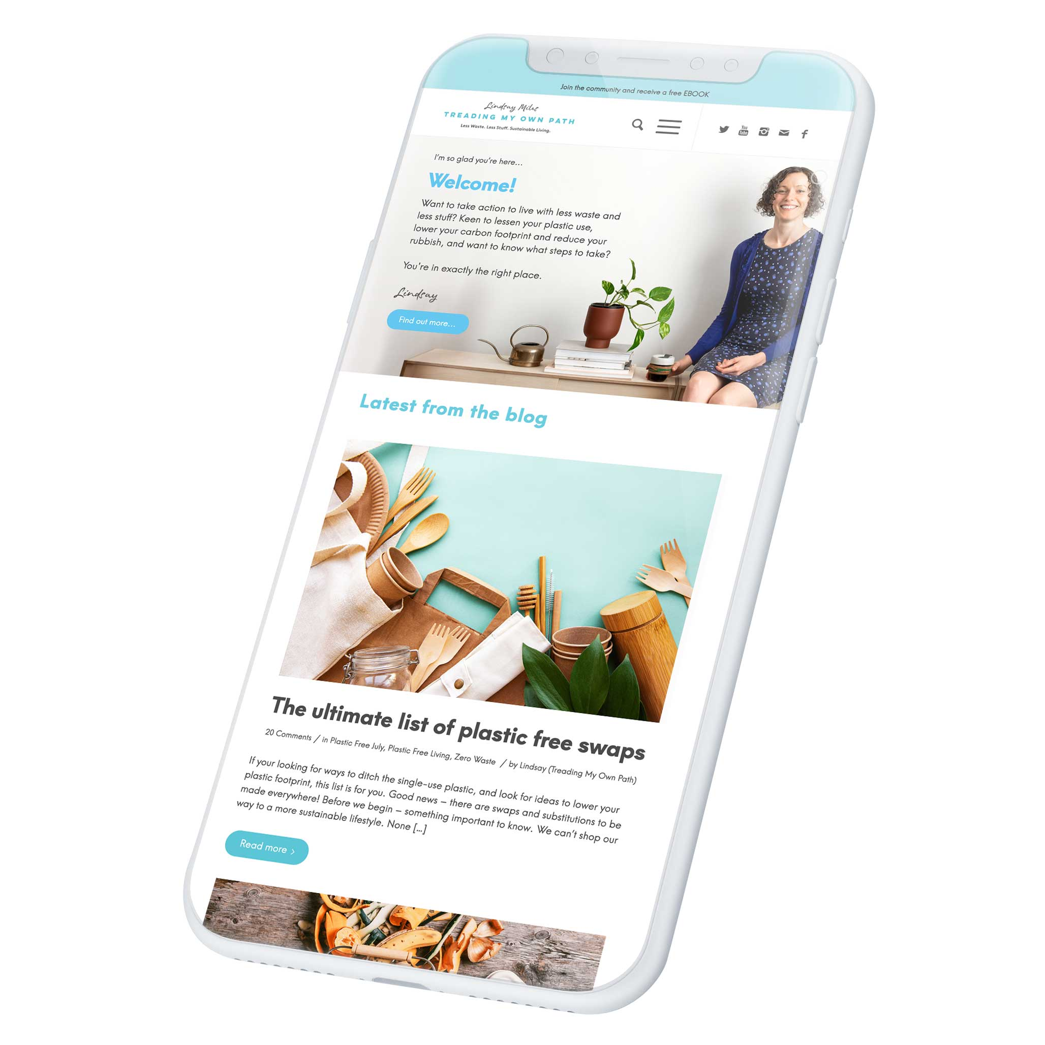 Treading My Own Path website on a smart phone