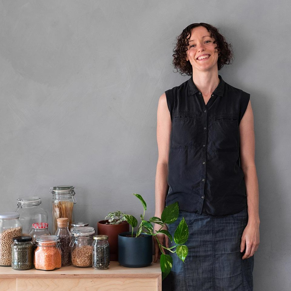Lindsay at home with her jars